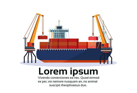 Industrial sea port freight ship cargo crane logistics container loading water delivery transportation concept international shipping flat horizontal isolated copy space vector illustration Illustration