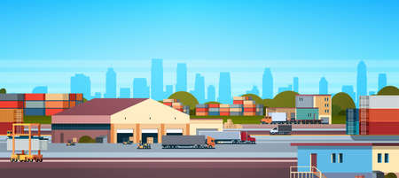warehouse industrial container semi trailer cargo freight outdoor international delivery concept flat horizontal banner vector illustration Illustration