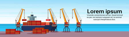 Industrial sea port freight ship cargo crane logistics container loading water delivery transportation concept international shipping seaside flat horizontal banner copy space vector illustration Иллюстрация