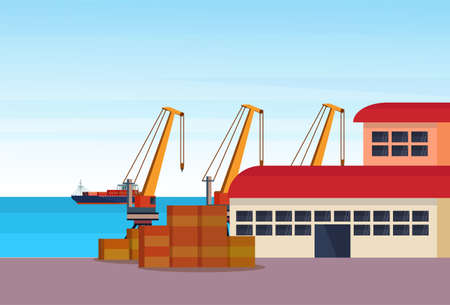 Industrial sea port freight ship cargo crane logistics container loading warehouse water delivery transportation concept international shipping seaside flat horizontal banner illustration