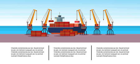 Industrial sea port freight ship cargo crane business infographic template container loading water delivery concept shipping seaside flat horizontal banner copy space vector illustration