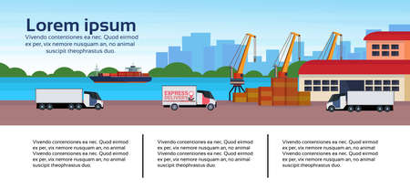 Industrial sea port freight ship cargo minivan crane logistics business infographic template loading warehouse delivery concept shipping seaside flat horizontal banner copy space vector illustration