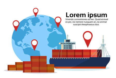 Industrial sea freight ship cargo logistics container world map geo tag navigation import export water delivery transportation concept international shipping isolated copy space flat horizontal vector illustration