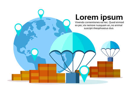 Package flying parachutes world map geo tag box fast parcel delivery service concept location international shipping isolated copy space vector illustration