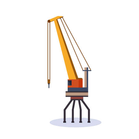 Industrial sea cargo logistics yellow crane concept shipping dock isolated flat vector illustration