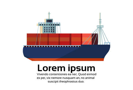 Industrial sea freight ship cargo logistics container import export water delivery transportation concept international shipping flat horizontal isolated copy space vector illustration