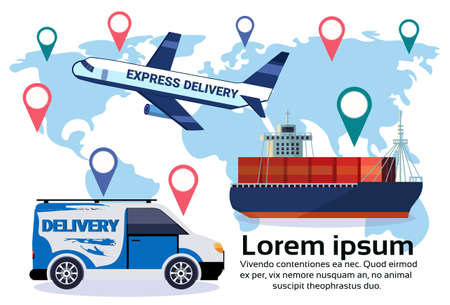 Logistics geo tag set of different delivery air cargo trucking maritime shipping minivan transportation location distribution vehicles international transportation concept flat horizontal copy space vector illustration Illustration