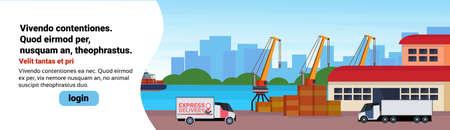 Industrielle Seehafen Frachtschiff Fracht Minivan Kran Logistik Laden Lager Wasser Lieferung Transportkonzept Internationaler Versand am Meer flach horizontale Banner Kopie Raum Vektor Illustration Vektorgrafik