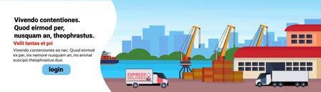 Industrial sea port freight ship cargo minivan crane logistics loading warehouse water delivery transportation concept international shipping seaside flat horizontal banner copy space vector illustration