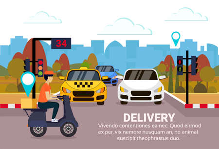 delivery man ride scooter box concept geo tag destination crossing city traffic lights fast transport motorcycle cityscape copy space horizontal flat vector illustration