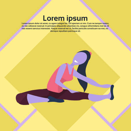 woman doing yoga exercises active lifestyle concept female cartoon character flat copy space vector illustration Иллюстрация