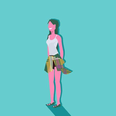 woman green hair hipster hat hand in pocket standing pose female cartoon character full length flat vector illustration Illusztráció