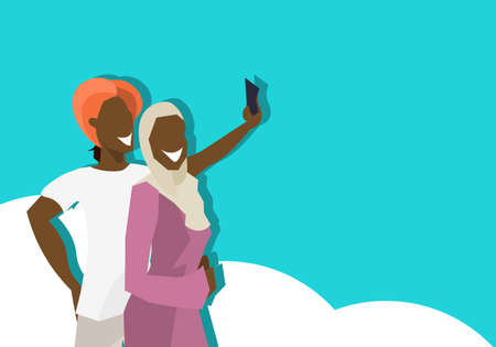 african couple hipsters making selfie on rest man woman taking photos smartphone cartoon character vacation concept flat portrait horizontal vector illustration Standard-Bild - 112702640