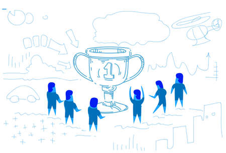 winner cup businessman around trophy first place concept people group celebrating teamwork success sketch doodle horizontal vector illustration Illustration