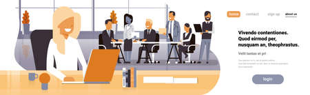 Businesswoman boss workplace over team brainstorming meeting group business people sitting together office discussing flat horizontal banner copy space vector illustration