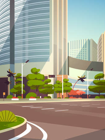 City empty street skyscraper buildings road view modern cityscape empty downtown vertical flat vector illustration