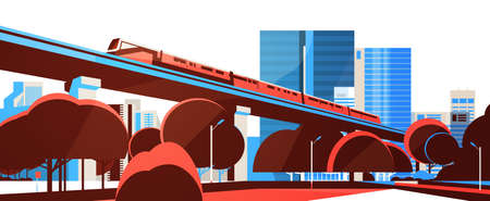 Subway monorail over city skyscraper view cityscape background skyline flat horizontal banner vector illustration