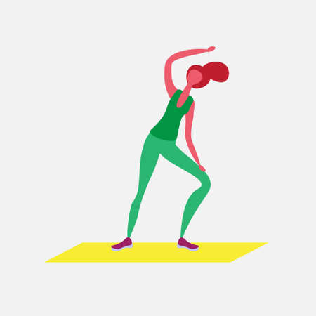 woman doing aerobic exercises cartoon character sport female activities isolated healthy lifestyle concept full length flat vector illustration