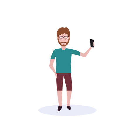 brown hair man doing selfie standing pose isolated faceless silhouette male cartoon character full length flat vector illustration