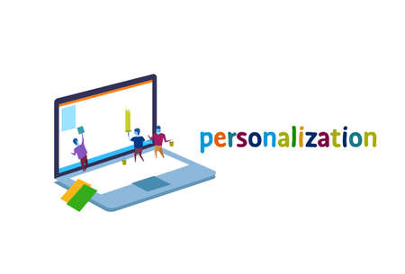 laptop screen business people personalization interface concept
