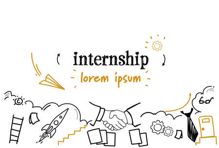 new job learning practice experience internship concept sketch doodle horizontal isolated copy space vector illustration
