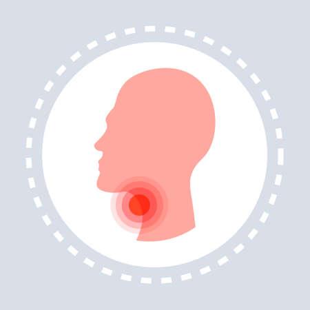 Halsschmerzen Konzept menschlicher Kopf Profil Symbol Gesundheitswesen medizinischer Service Logo Medizin und Gesundheit Symbol flache Vektorgrafiken