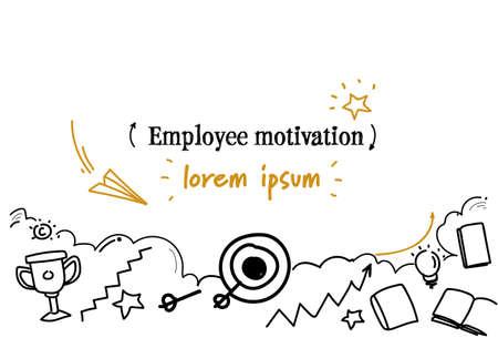 obiettivi di carriera di successo motivazione del dipendente concetto schizzo doodle orizzontale isolato copia spazio illustrazione vettoriale