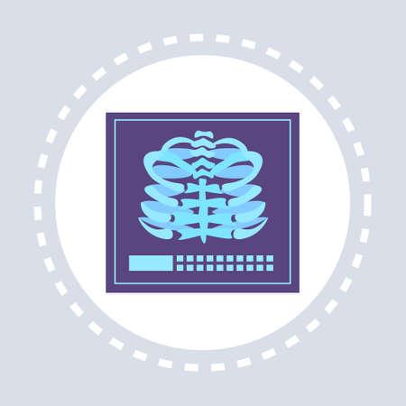 skeleton anatomy x-ray ribs cage icon healthcare medical service logo medicine and health symbol concept flat vector illustration