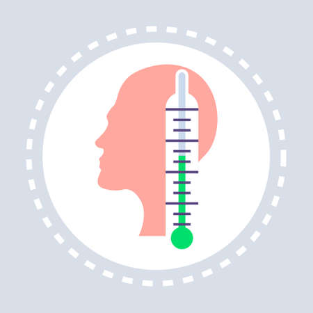 thermometer normal temperature human head profile icon healthcare medical service logo medicine and health symbol flat vector illustration Ilustrace