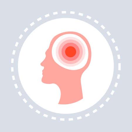 migraine headache concept human head icon healthcare medical service logo medicine and health symbol flat vector illustration