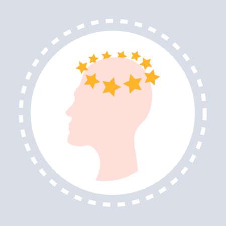 concussion dizziness concept human head icon healthcare medical service logo medicine and health symbol flat vector illustration