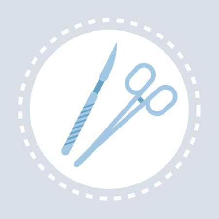 surgical instruments scalpel scissors icon healthcare medical service logo medicine and health symbol concept flat vector illustration Illustration