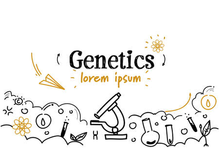 biotechnology science genetics concept sketch doodle horizontal isolated copy space vector illustration