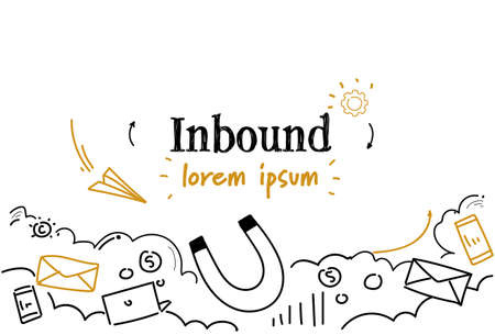 marketing magnet power of inbound concept sketch doodle horizontal isolated copy space vector illustration