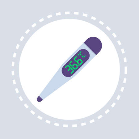 36.6 celsius electronic thermometer icon healthcare medical service logo medicine and health symbol concept flat vector illustration