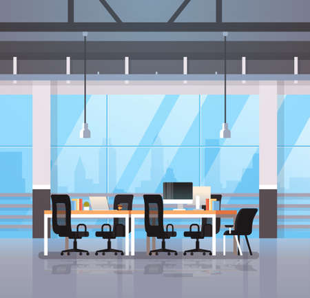 modern office interior workplace desk creative co-working center workspace cityscape background flat vector illustration