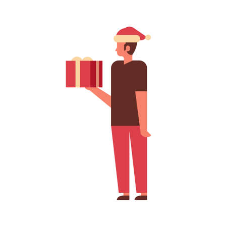 man hold gift box present merry christmas happy new year holiday celebration concept full length male cartoon character isolated flat vector illustration