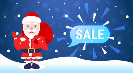 merry christmas happy new year holiday big sale concept santa claus hold sack chat bubble special offer promotion flat vector illustration Illustration