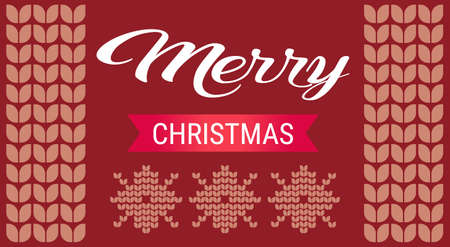 merry christmas happy new year concept seamless knitted pattern ornament decoration red background greeting card vector illustration Illustration