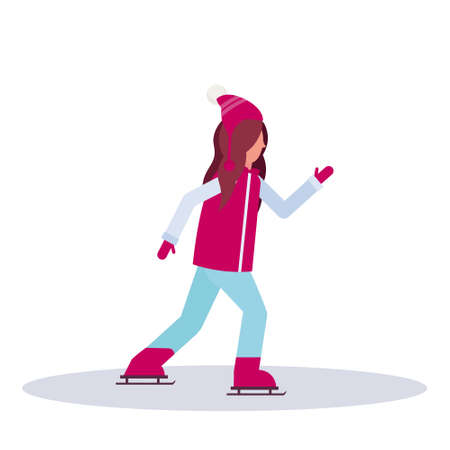young girl skating ice rink sport activities lady wearing winter clothes female carton character full length profile flat isolated vector illustration