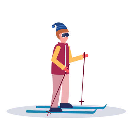 man skiing sport activities guy wearing goggles ski suit male carton character sportsman on skis full length profile flat isolated vector illustration