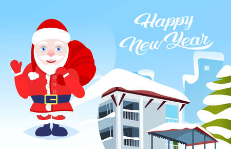 waving santa chaus hold present sack happy new year merry christmas holidays concept winter snow covered house cityscape background flat horizontal vector illustration Illustration