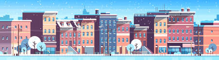 city building houses winter street cityscape background merry christmas happy new year concept flat horizontal banner flat vector illustration