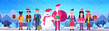 snowman santa claus children holding wrapped gift box present merry christmas new year holiday concept winter mountain forest landscape flat horizontal vector illustration