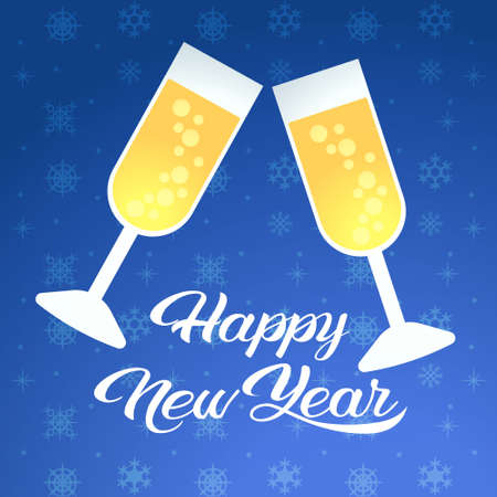 merry christmas happy new year celebration concept two champagne glasses greeting card vector illustration