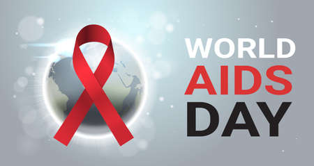 World AIDS day awareness red ribbon sign over world map international medical prevention poster flat horizontal vector illustration