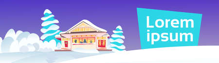 wooden snow cowered cottage happy new year merry christmas holidays decorations concept snowy fir tree forest flat copy space horizontal vector illustration Illustration