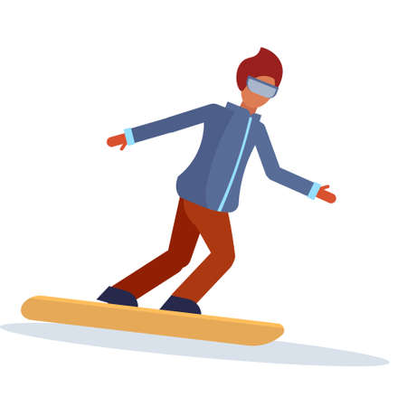 Snowboarder man sliding down winter sport activities guy wearing goggles male carton character sportsman snowboarding full length flat isolated vector illustration