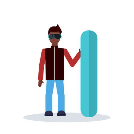 snowboarder man holding snowboard winter vacation hobby concept sportsman wearing goggles male cartoon character full length isolated flat vector illustration