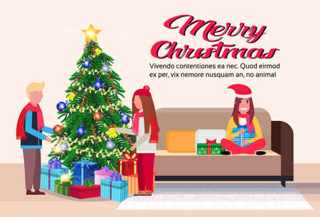 people decorate fir tree merry christmas happy new year holidays concept modern living room interior flat horizontal copy space vector illustration